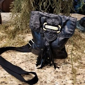 JUICY COUTURE Black Leather Whipstitch Fringe Bag